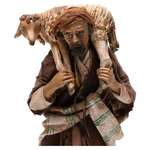 Krippenfiguren von Angela Tripi: Guter Hirte 18cm Terrakotta, A. Tripi