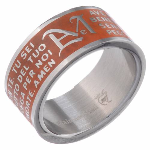 Hail Mary prayer ring orange - stainless steel LUX s1
