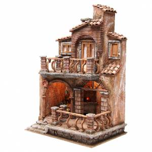 Hamlet with hut for nativity with accessories 40x30x20cm s2