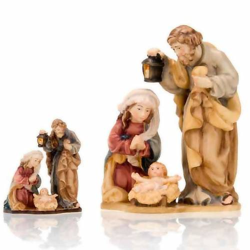 Hand-painted wooden nativity set with base s1