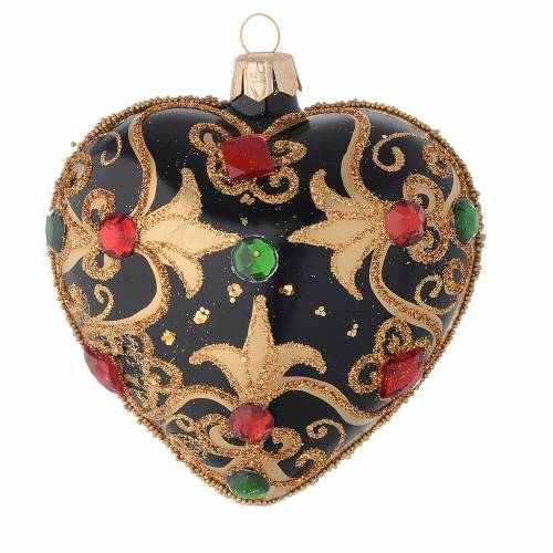 Heart Shaped bauble in black and gold blown glass with red stones 100mm s1