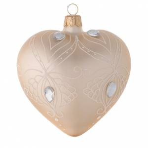 Heart Shaped Bauble in gold blown glass with white tree decoration 100mm s1