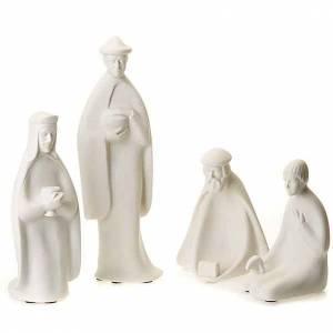 Stilisierte Krippe: Heilige Drei Könige und Priester klein