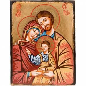 Handgemalte rumänische Ikonen: Heilige Familie auf unebener Tafel