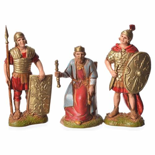 Herod and soldiers, 3 nativity figurines, 6cm Moranduzzo s1