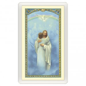 Holy cards: Holy card, Jesus hugging a person, I Believe o Lord ITA 10x5 cm
