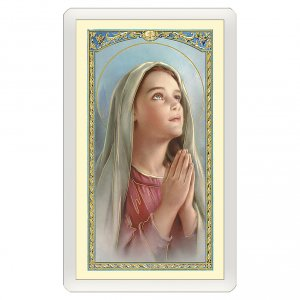 Holy cards: Holy card, Mary in prayer, Smile Prayer ITA, 10x5 cm