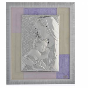 Bonbonnière: Holy Family picture favour in pink and purple and silver 29x26cm