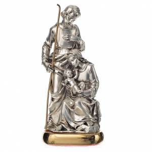 Holy Statues in resin & PVC: Holy Family with music box in metal-coloured resin 16cm