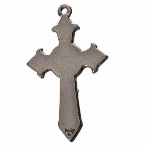 Holy Spirit pointed cross 4.5x2.8cm in zamak, blue enamel s2