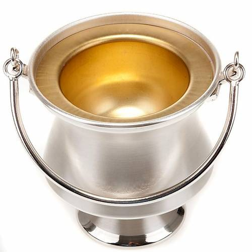 Holy water pot in silver-plated brass, simple model s2