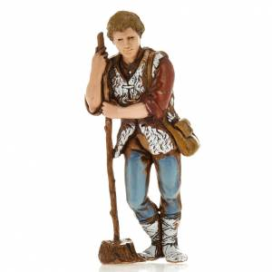 Crèche Moranduzzo: Homme avec bâton, santon crèche Moranduzzo 8 cm