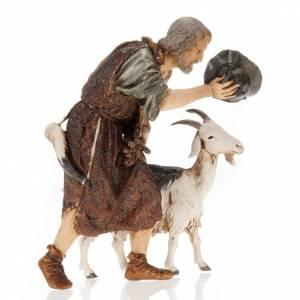 Santons crèche: Homme avec chèvre et chapeau crèche Moranduzzo 13 cm