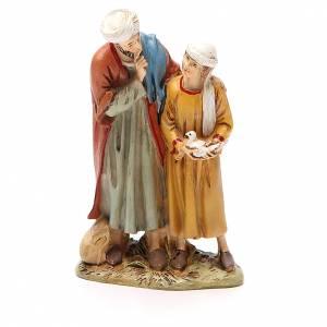 Santons crèche: Homme et enfant avec colombe résine peinte 12 cm gamme Martino Landi