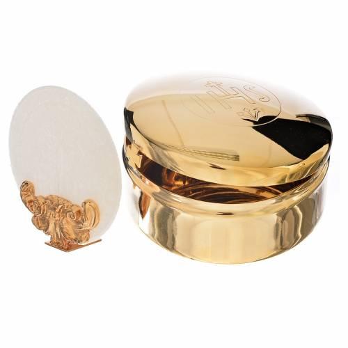 Host box in brass, 9.5cm diameter s3