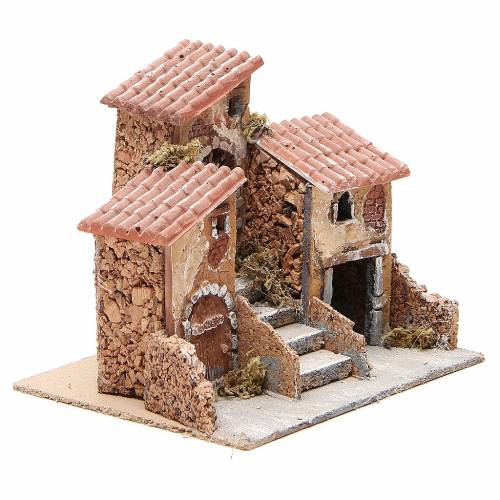 House in cork and resin for Neapolitan nativity 14x21x16cm s3