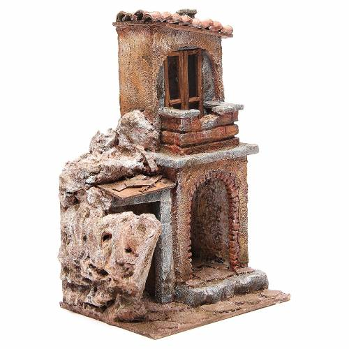 House with rustic hut Nativity 30x25x15cm s3