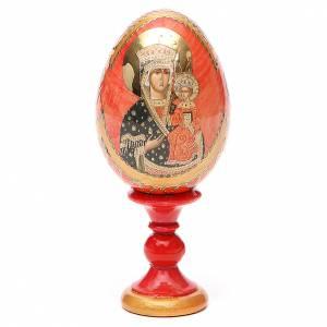 Huevos rusos pintados: Huevo ruso de madera découpage Chenstohovskaya altura total 13 cm estilo Fabergé