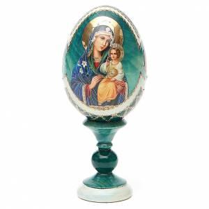 Huevos rusos pintados: Huevo ruso de madera découpage Virgen de los Lirios Blancos estilo Fabergé altura total 13 cm