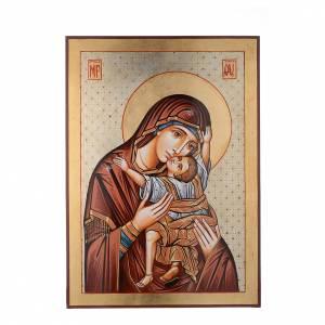 Icona dipinta Romania 70x50 cm Odigitria con decori s1