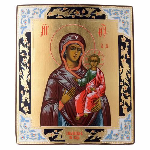 Icona Madonna Smolensk dipinta tavola antica Russia s1