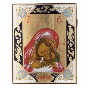 Icone Russe dipinte su tavola antica: Icona Madonna Tenerezza Korsun su tavola antica