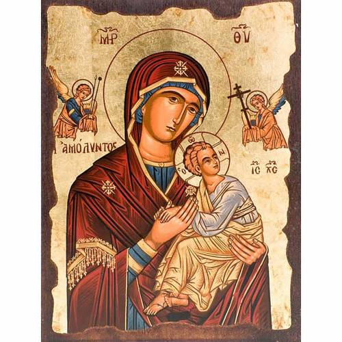 Icona Madre di Dio della passione manto rosso Grecia s1