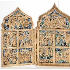 Icona quadripartita da viaggio antica bronzo XIX secolo s2
