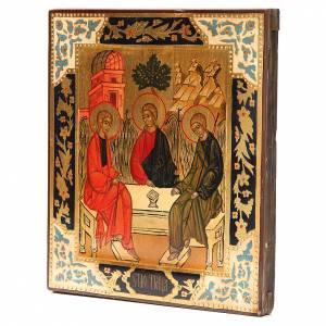 Icone Russe dipinte su tavola antica: Icona russa antica Santa Trinità XX secolo Restaurata