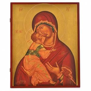 Icone Russia dipinte: Icona russa dipinta Madonna di Vladimir manto rosso 36x30