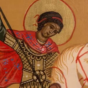 Icona Russa dipinta San Giorgio 20x17 cm s2