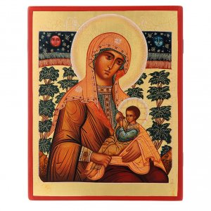 Icone Russia dipinte: Icona russa Madonna Allattante 21X17 cm