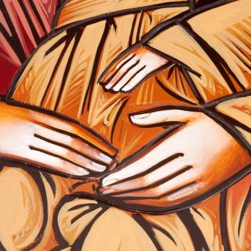Icona Sacra Famiglia fondo oro 45x120 cm s2