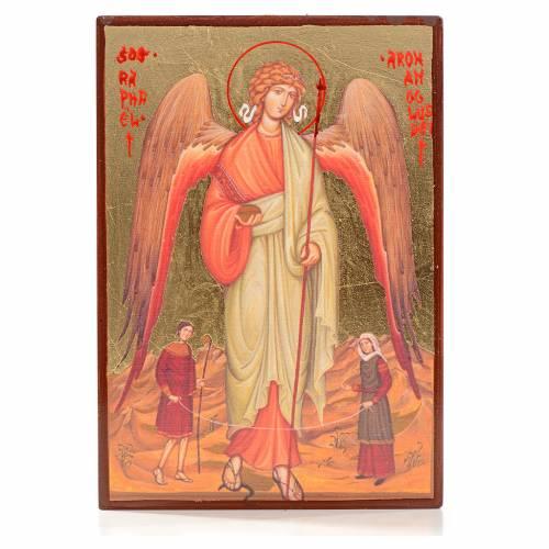 Icona serigrafata San Raffaele foglia oro 14x10 s1