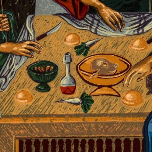 Icona Trinità dell'Antico Testamento serigrafia Grecia 31x24 s5