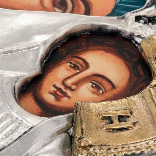 Icona Vergine di Kazan riza argentata dorata 3