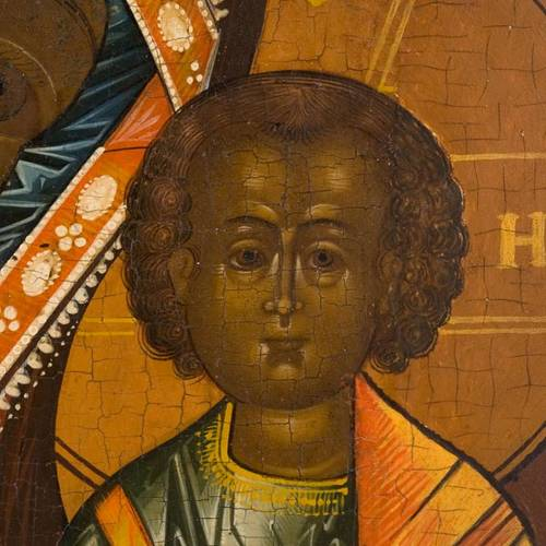 Icône ancienne russe, mère de Dieu de Kazan s5