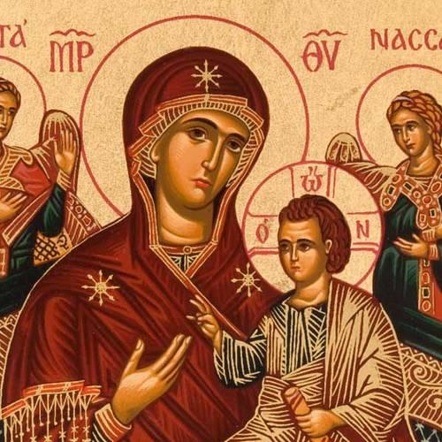 Icone imprimée Grèce Marie et enfant sur trone s2
