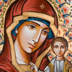 Icône peinte à la main,  40x60 cm, vierge de Kazan s2