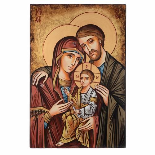 Icône Roumanie peinte à la main Sainte Famille 60x40 cm s1
