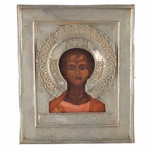Icônes Russes anciennes: Icône russe ancienne Christ Emmanuel 1874 riza argent
