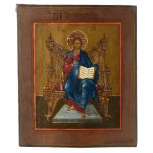 Icônes Russes anciennes: Icône russe ancienne Jésus-Christ sur le Trône (Roi des Rois) 35x30 cm