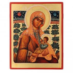 Icônes Russes peintes: Icône russe Vierge Allaitant 21x17 cm