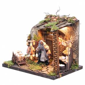 Illuminated cheese seller figurine for Neapolitan Nativity, 10cm s2