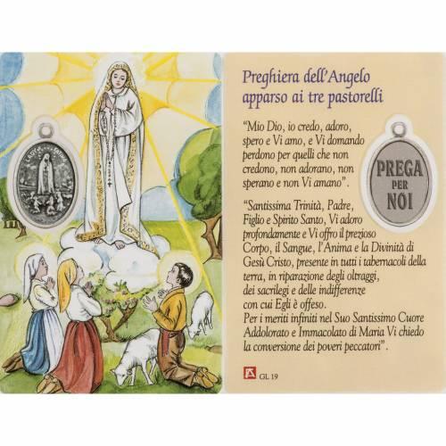 Image pieuse Notre-Dame de Fatima avec prière plastifiée s1