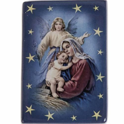 Imán cerámica María con Niño y ángel de la guarda s1
