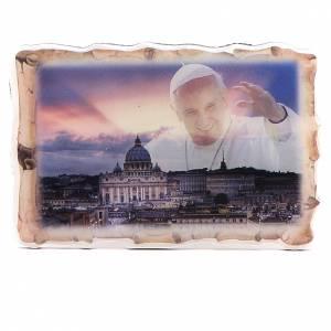 Imanes de los Santos, Virgen y Papa: Imán Pergamino Papa Francisco ocaso 8x5,5 cm