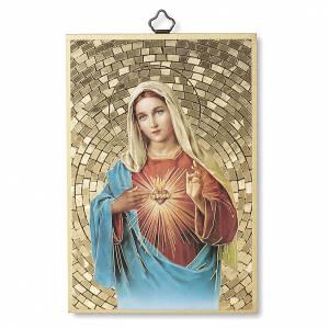 Tableaux, gravures, manuscrit enluminé: Impression sur bois Coeur Immaculé de Marie