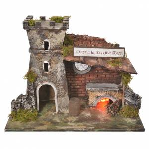 Inn house for nativities with flame effect oven 24.5x33x18cm s1