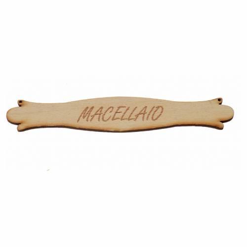 Insegna presepe Macellaio 14 cm in legno s1